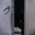 puerta - óleo sobre madera - 20 x 20 cms
